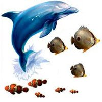 Seascape Tropical Fish Coral Wall Sticker Appliques