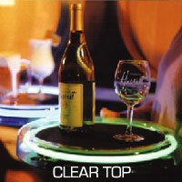 Neon Clear Acrylic Round Serving Tray - Disposable Batteries: Purple
