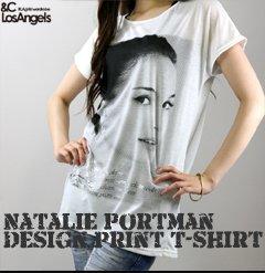 &C LosAngelsアンドシーLA ナタリー・ポートマンデザインプリントTシャツ
