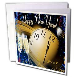 Florene Special Events Champagne n Clock with 2013 New Year Greetings Greeting Cards 12 Greeting Cards with envelopes