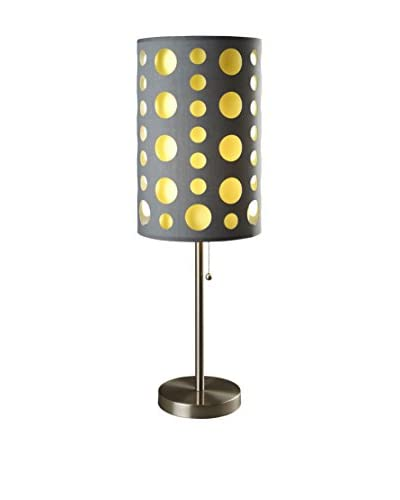 ORE International Modern Retro Table Lamp, Grey/Yellow
