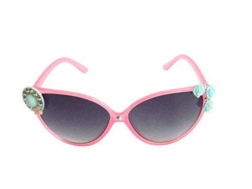 Pink Cat-eye Shape Cute Hat and Flower Kid Girl Sunglasses