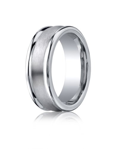 Cobalt Chrome, 8mm Comfort-Fit Satin-Finished Round Edge Design Ring (sz 9.5)