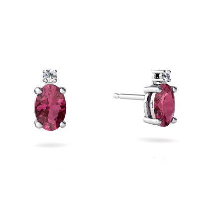 Jewels For Me 14K White Gold Oval Genuine Pink Tourmaline Stud Earrings