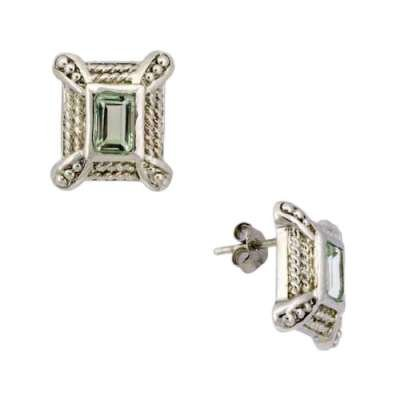 New Sterling 925 Silver Rectangle Earrings with Genuine Green Precious Stone Quartz (WoW !With Purchase Over $50 Receive A Marcrame Bracelet Free)
