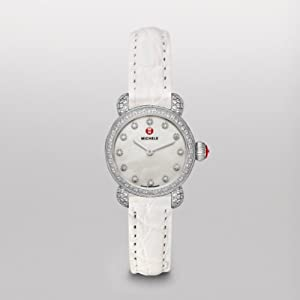 Michele Watches, Women's Csx26 Pav Diamond, Diamond Dial White Alligator