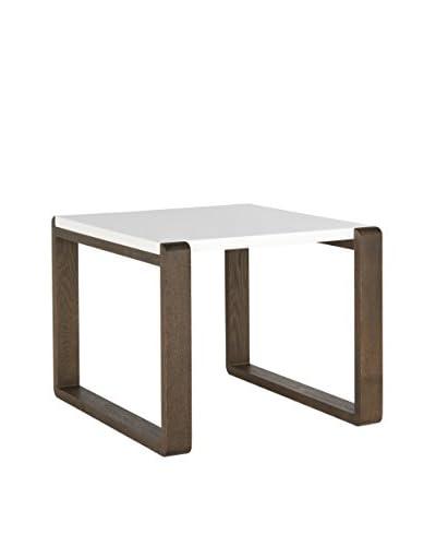Safavieh Bartholomew End Table, White/Dark Brown