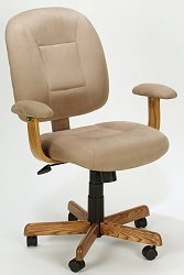Stone Microfiber & Oak Mid-Back Ergonomic Office Task Chair