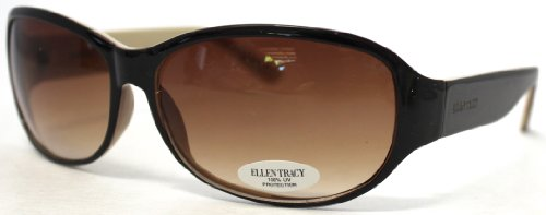 Ellen Tracy Sunglass Modified Rectangle Fashion Brown Plasti
