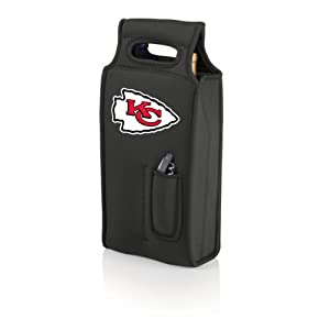 NFL Kansas City Chiefs Samba 2-Bottle Neoprene Wine Tote Bag, Black