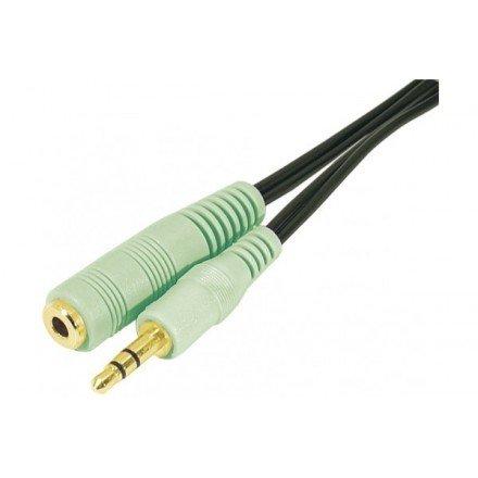 Cordon sortie audio jack 3.5mm M/F PC99 - vert - 10m