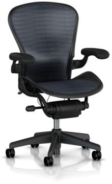Aeron Chair by Herman Miller - Home Office Desk Task Chair Fully Loaded Highly Adjustable Medium Size (B) - Lumbar Back Support Cushion Graphite Frame Blue Black Tuxedo Pellicle