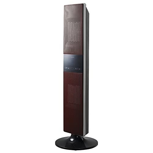 Pieria(ピエリア) タワー型セラミックヒーター レッド 上下段ON/OFF2段階切替 首振り機能 リモコン式 切タイマー 温度センサー付き 温度設定可能 DCH-1406 RD