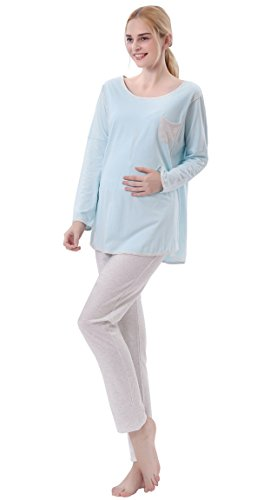 Niyatree Fall Soft Thin Crew Neck Maternity Nursing Clothes Pajamas Set for Breastfeeding Mum Women L Blue