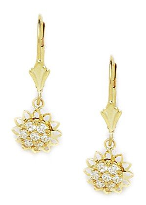 14ct Yellow Gold CZ Flower Drop Leverback Earrings - Measures 25x9mm