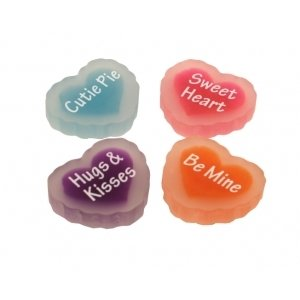 Be Mine Love Message Erasers - Set Of 4