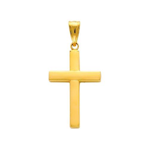 14K Yellow Gold Classic Cross Charm Pendant