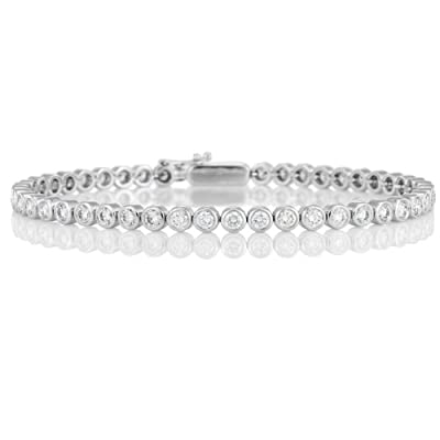 F/VS Beautiful Bezel Set Round Diamond Tennis Bracelet,18k White Gold