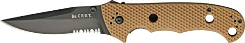 Crkt Hammond Desert Cruiser Folding Knife, 3.75In, Serrated Clip Point, Desert Tan 7914Dblk Blade
