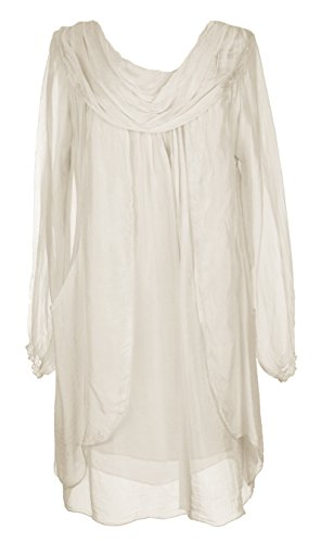 Ladies Womens Italian Lagenlook Quirky Long Sleeve Rusched Neck Flap Front Silk Tunic Dress One Size UK 10-16 (One Size, Beige)