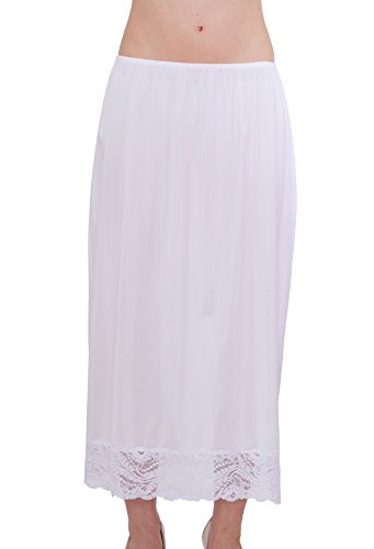 Under Moments Maxi, Half Slip Vintage Style 32″ with All Around Lace (Wht, S)