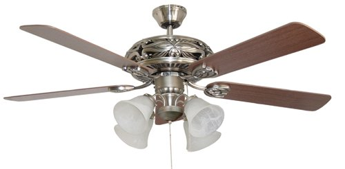 Five Reversible White//Whitewash Blades and Single Light Kit with Opal Glass Litex E-TIT52WW5LKRC Titan Collection 52-Inch Ceiling Fan with Remote Control