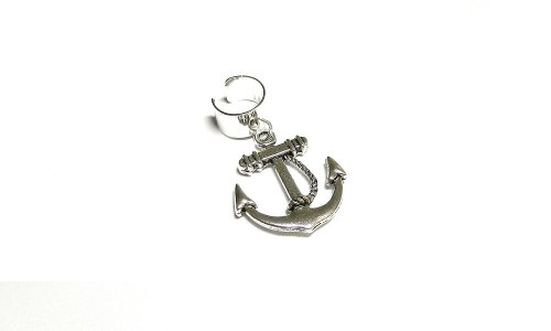 Single Silver Anchor Ear Cuff Earring Handmade