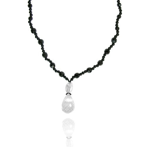 Crystal Drops Pendant Necklace with Black Onyx Bead Necklace, 21+2