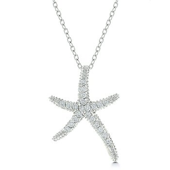 White Gold Rhodium Bonded to .925 Sterling Silver Base Metal Milligrain Starfish Necklace with Link Chain and Lobster Clasp in Silvertone