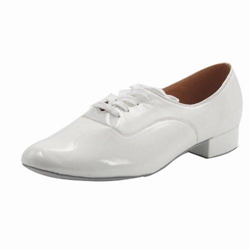 "Msmushroom Kid Boys Patent Leather Ballroom Competition Dancing Shoes 1""Heel,White,10 M Us"