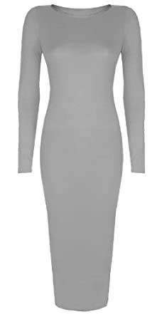Womens Ladies Celebrity Inspired Long Sleeve Bodycon Midi Calf Length Dress - Normal and Big Sizes (S/M (8-10), Grey)