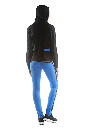 Adriana Women Sweatsuit 3 Piece Set Athletic Gym Outfit Blue-black (Large)