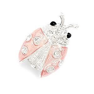 Ladybug Fashion Pin with Pink Epoxy