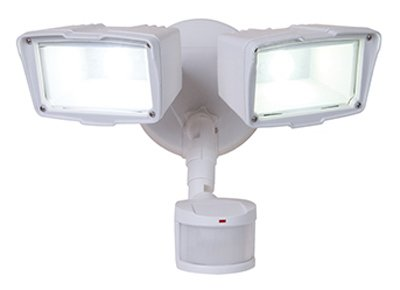 Cooper Lighting Mst18920Lw Led Security Light, 180 Degree Motion-Activated, Twin-Head, White Aluminum, 150- - Quantity 2