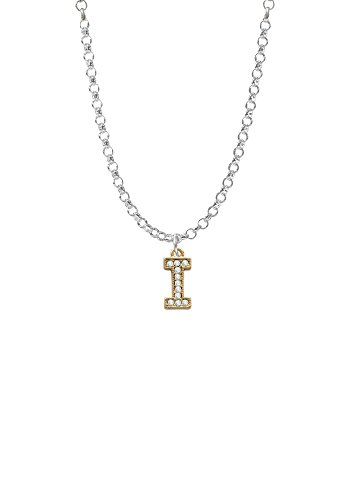 Gold Tone Small Crystal Initial - I - Necklace