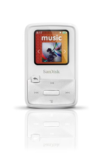 Sandisk Sansa Clip Zip 4Gb Mp3 Player, White With Full-Color Display, Microsdhc Card Slot And Stopwatch- Sdmx22-004G-A57W