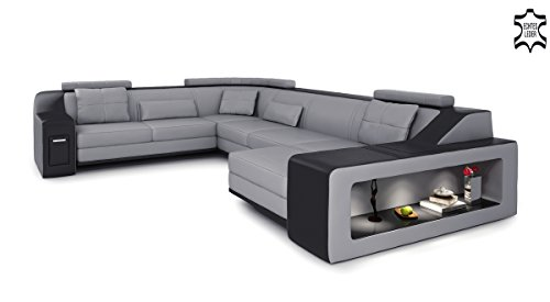 xxl wohnlandschaft leder grau schwarz couch sofa u form ledersofa ledercouch designsofa mit. Black Bedroom Furniture Sets. Home Design Ideas