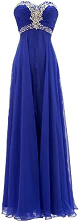 Meier Women's Strapless Chiffon A Line Gown in Royal, Size 12