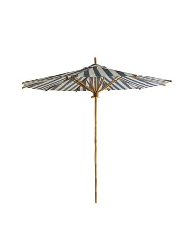 ZEW, Inc. Bamboo Umbrella In Navy&White Stripes Canvas, Natural