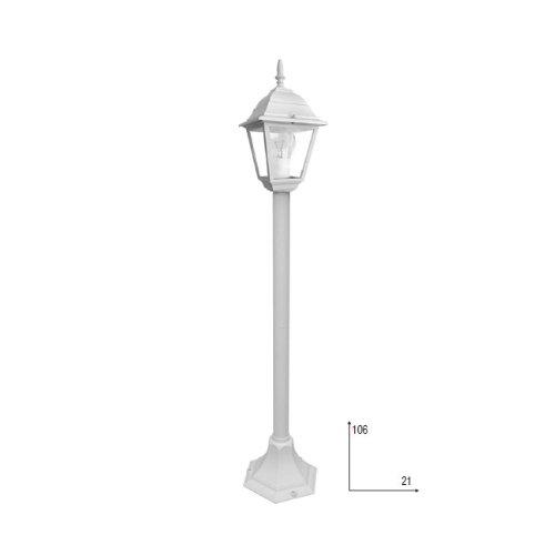 Lampione in alluminio palo luce a lanterna da esterno 106 cm bianco