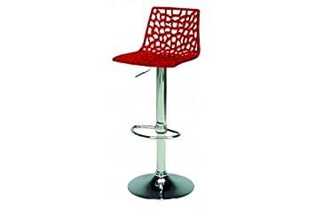 Sgabello sedia cucina moderna policarbonato traforata col rosso