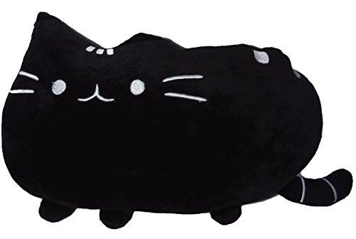 Big Cat Emoji Throw Pillow Pet Sofa Decorative Cushion Soft Plush Toy Doll 15inches 1pc (Black)
