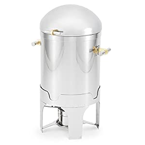 Vollrath 48790 7 Qt. Silverplated New York, New York Soup / Gravy Chafer with Brass Trim