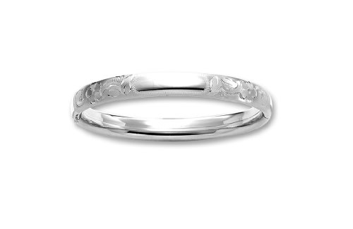 Sterling Silver Hand Engraved Guard and Hinge Bangle Bracelet with Signet Area