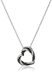 Sterling Silver Black and White Diamond Open Heart Pendant Necklace (1/5 cttw, J-K Color, I2-I3 Clarity)