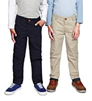 2 Pack Pure Cotton Adjustable Waist Chinos