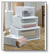 RIS 32 Quart Large Stackable Plastic Drawer