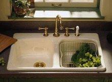 Kohler Brookfield K5942 2 47 Kitchen Double Bowl Sinks Almond Big Save Tools 026z