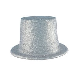 Glittered Top Hat (silver) Party Accessory  (1 count) - 1