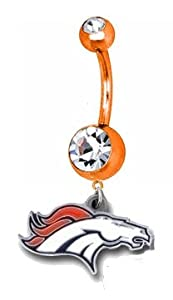 Denver Broncos NFL PREMIUM Orange Titanium Anodized Sexy Belly Navel Ring - B0085HOBAA